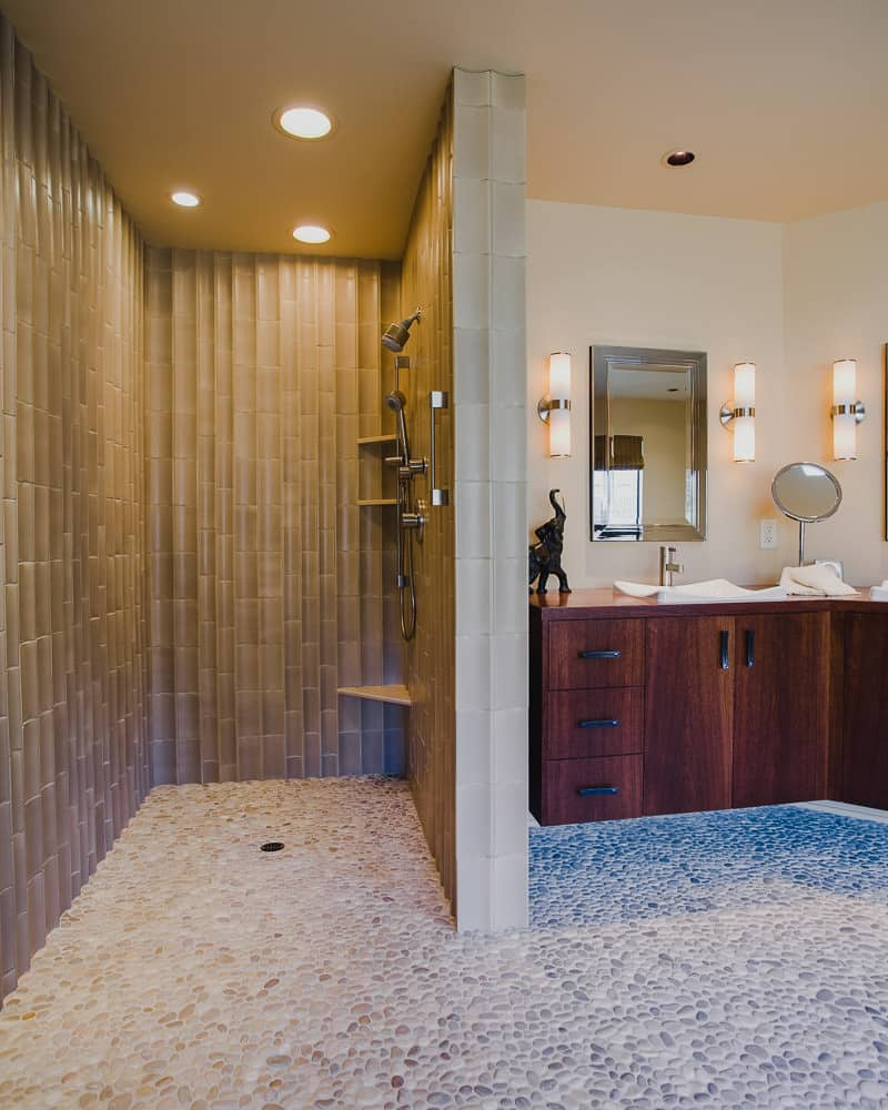 master bath, shower, tile walls, floating cabinet