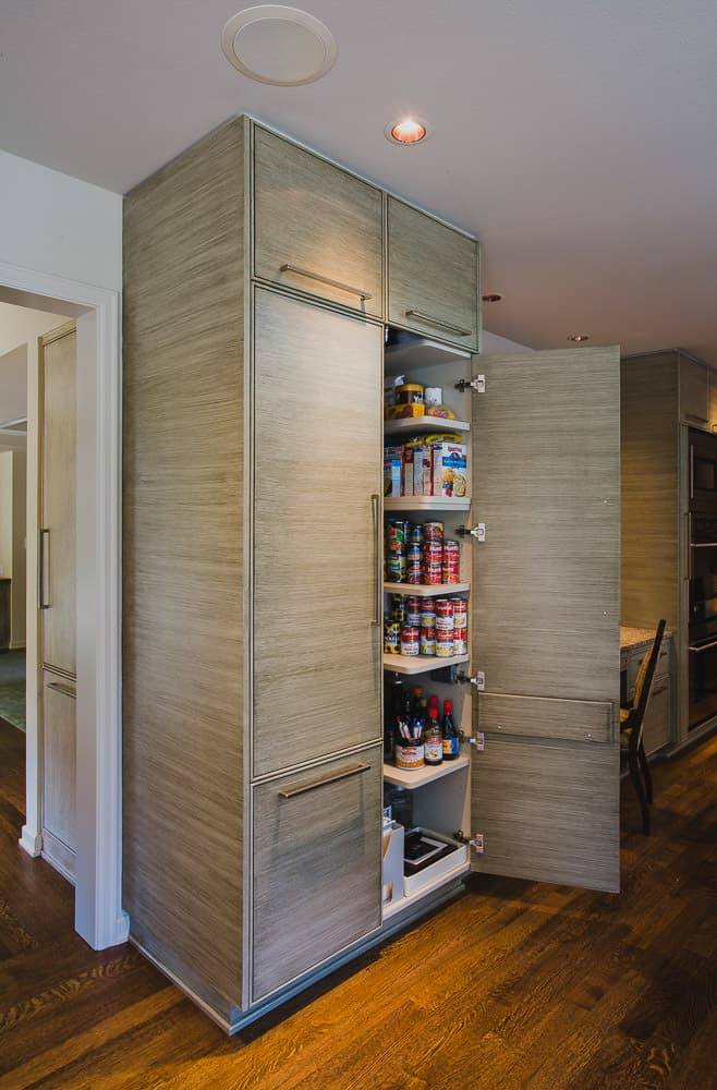 kitchen, pantry cabinet, hardwood floor, faux finish cabinet